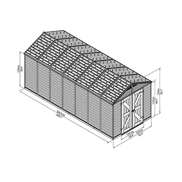 מחסן לגינה הדר קרם 16*8 סרטוט